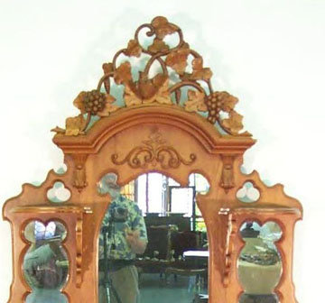 Victorian Pierced Crest  Etagere  Carved Grapes Marble