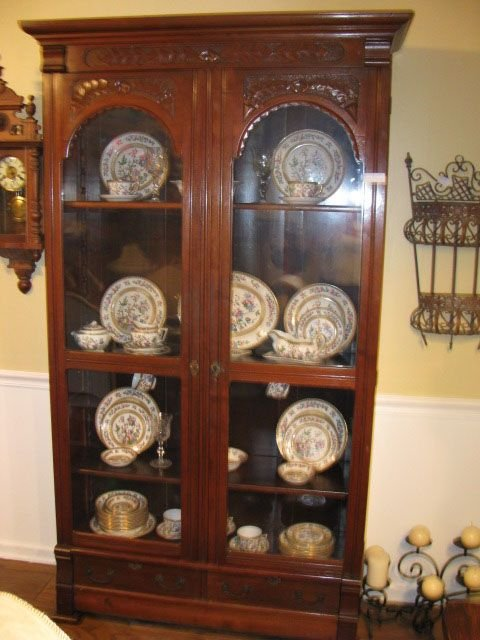 Carved Walnut Bookcase Two Doors