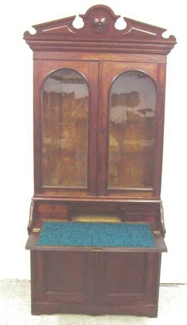 Walnut  Victorian Desk Bookcase