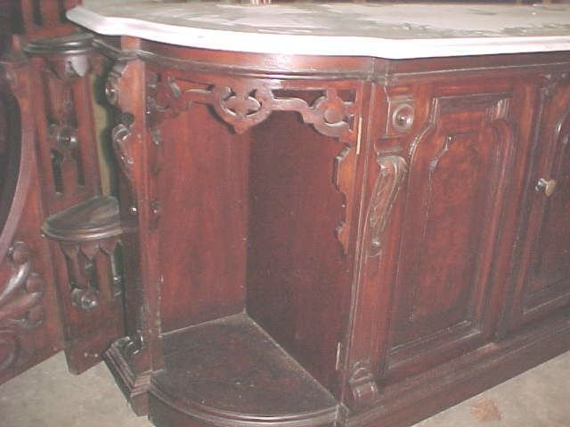 Walnut Renaissance Marble Top Credenza  - Ladies Head