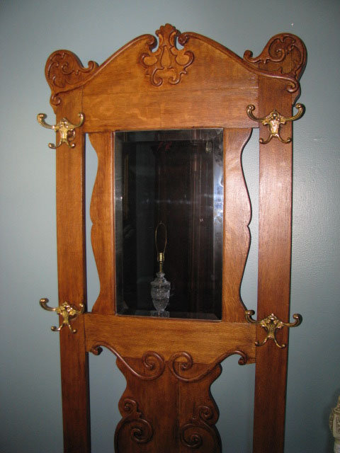 Tiger Oak Hall Tree Bevelled Mirror and Carvings