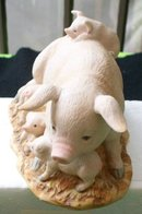 HOMCO 1443  PIG WITH FOUR PIGLETS FIGURINE
