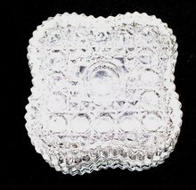 PRESSED GLASS DESIGNED TRINKET OR SMALL JEWELRY BOX