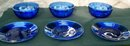 3 BOWLS AND 3 PLATES COBALT BLUE GLASS