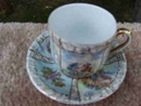 CARLSBAD,VICTORIA DEMI CUP AND SAUCER WITH COURTSHIP SCENES