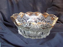 OLD  PRESSED GLASS FRUIT BOWL WITH GOLD * PRICE REDUCED *