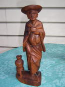 WOOD CARVED PILGRIM WOMAN  - PRICE REDUCED -