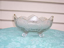 PATTERNED GLASS FRUIT/CENTER BOWL, FOOTED