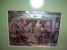 METALIC FRAMED PICTURE OF 15TH? CENTURY SPANIARDS?