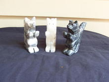 THREE STONE CARVED DOGS * PRICE REDUCED *