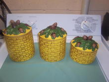 CANISTER SET WITH OAK LEAVES/ACORNS AND BASKET WEAVE - PRICE REDUCED TWICE -