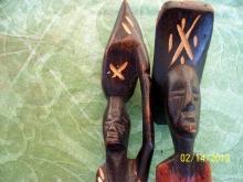 MAN AND WOMAN HAITIAN WOOD FIGURINES 15.5