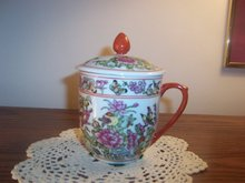 ORIENTAL CUP WITH LID - HAND PAINTED - REDUCED PRICE -