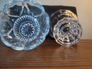 TWO PIECE GLASS HEART DESIGNED CANDLE HOLDER