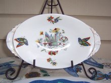 OVAL CANDY DISH WITH BUTTERFLYS - CZECHOSLAVAKIA