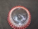 CRANBERRY AND CLEAR GLASS CANDY DISH OR BOWL - PRICE REDUCED -