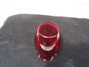 RUBY OR DARK CRANBERRY RUFFLED TOP VASE - PRICE REDUCED -