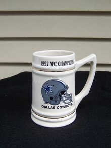 1992 DALLAS COWBOY NFC CHAMPIONS LARGE MUG - PRICE REDUCED