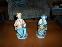 OLD MAN AND OLD WOMAN FIGURINE SET - NEW LOWER PRICE
