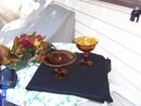 AMBER GLASS PEDESTAL CAKE STAND AND CANDY DISH WITH REDUCED PRICE