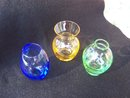 THREE COLORED GLASS MINI VASES - PRICE REDUCED -