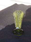 GREEN DIAMOND CUT VASE