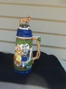 LARGE SCENIC STEIN WITH DANCERS AND HUNTING  DOG  - NEW LOWER PRICE