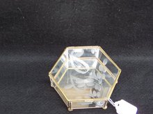 ETCHED GLASS AND BRASS  SIX SIDED BOX