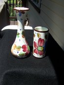 TWO BRIGHT HAND PAINTED VASES FROM SPAIN