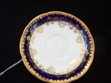 AYNSLEY NAVY BLUE AND GOLD SAUCER