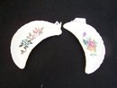 PAIR OF FLORAL DESIGNED BONE OR SIDE DISHES