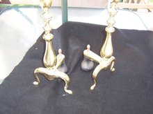 A PAIR OF ANDIRONS BRASS OR PLATED AND IRON