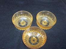 THREE ARCOROC AMBER BOWLS  MADE IN USA
