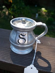 PEWTER SALT SHAKER WITH HANDLE