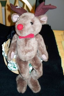 STUFFED REINDEER WITH RED NOSE