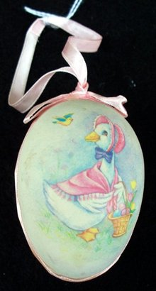 EGG DECORATED WITH  GOOSE ORNAMENT