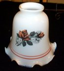 MILK GLASS AND FLORAL LAMP SHADE OR GLOBE