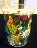 BLOWN GLASS FLORAL DESIGNED HAND PAINTED  VASE