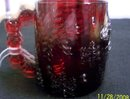 CRANBERRY OR RED GLASS SNOWMAN MUG
