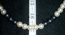 COSTUME PEARL NECKLACE BLUE/GRAY AND WHITE