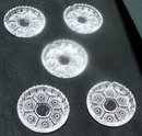 SET OF FIVE GLASS ASHTRAYS OR COASTERS FROM ITALY