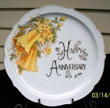LARGE HAPPY ANNIVERSARY PLATE BELLS AND FLOWERS