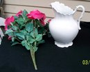 SEMI PORCELAIN LARGE PITCHER  AND  FLOWER BOUQUET  - NEW LOWER PRICE