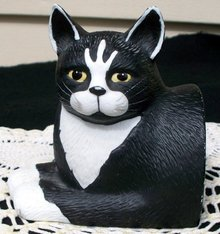 BLACK AND WHITE CAT DOOR STOP OR BOOK END