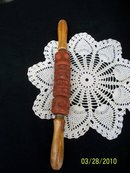 WOOD HANDLED ROLLING PIN WITH DESIGN WHEELS