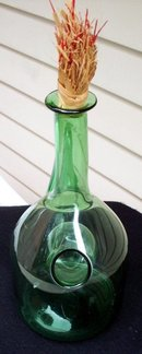 LARGE GREEN DECANTER WITH ICE HOLDER AND SPOUT