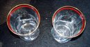 PAIR OF PANEL, PINCHED AND GOLD RIMMED  DRINKING GLASSES - PRICE REDUCED -