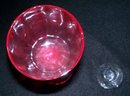 RUBY RED AND CLEAR LONG STEM GLASS WITH A SMALL CANDLE  HOLDER  - PRICE REDUCED -