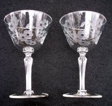 PAIR OF LIBBEY DESERT OR TOASTING  GLASSES GLENMORE PATTERN ???