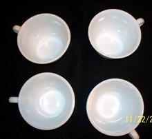 SET OF FOUR PYREX WHITE COFFEE CUPS